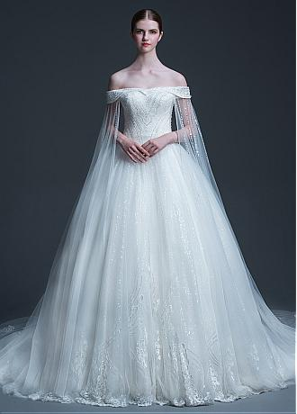 Eye-catching Tulle & Sequin Tulle Off-the-shoulder Neckline Ball Gown Wedding Dress With Beadings & Lace Appliques