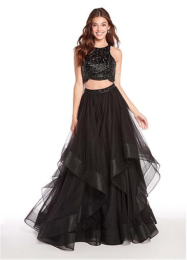 Junoesque Sequins Lace & Tulle Jewel Neckline Floor-length A-line Evening Dress With Beadings