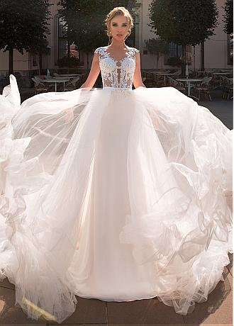 Marvelous Tulle & Four Way Spandex V-neck Neckline 2 In 1 Wedding Dress With Lace Appliques & Beadings & Detachable Skirt