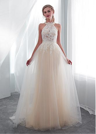 In Stock Exquisite Tulle Halter Neckline See-through Bodice A-line Wedding Dress With Lace Appliques & Beadings