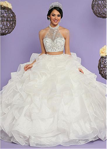 Splendid Tulle & Organza Halter Neckline Two-piece Ball Gown Quinceanera Dress With Beadings