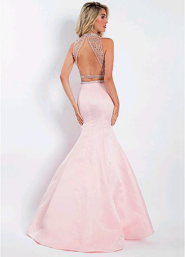 Unique Tulle & Satin High Collar Two-piece Mermaid Prom Dresses With Beadings