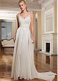 Wonderful Chiffon & Lace Spaghetti Straps Neckline A-line Wedding Dresses With Lace Appliques & Beadings