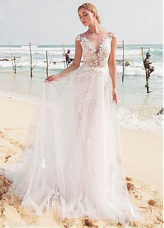 Fabulous Tulle Jewel Neckline 2 In 1 Wedding Dresses With Lace Appliques & Detachable Skirt