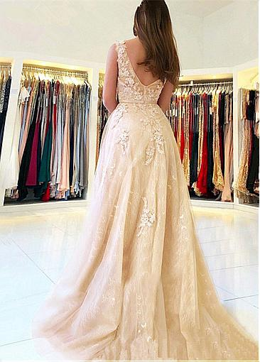 Modest Tulle V-neck Neckline Floor-length A-line Prom Dresses With Lace Appliques & Beadings & Belt