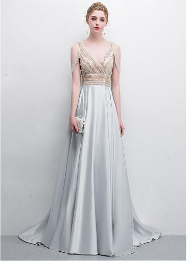 Special Tulle & Satin V-neck Neckline Floor-length A-line Prom Dresses With Beadings