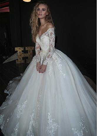 Glamorous Tulle Off-the-shoulder Neckline 2 In 1 Wedding Dresses With Beaded Lace Appliques & Belt & Detachable Skirt