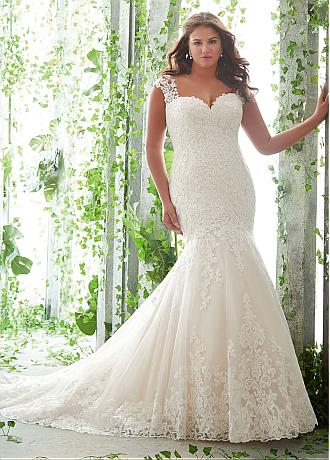 Luxury Tulle Sweetheart Neckline Mermaid Plus Size Wedding Dresses With Lace Appliques