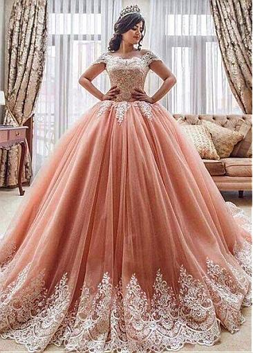 Off-shoulder Sweetheart Lace Tulle Bridal Ball Gown - Promfy