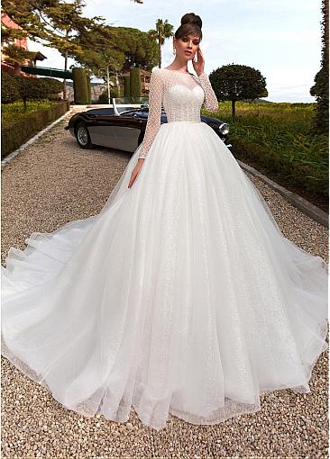 Fabulous Lace & Tulle Bateau Neckline Ball Gown Wedding Dresses With Beadings