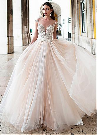Fascinating Tulle Bateau Neckline A-line Wedding Dresses With Beaded Lace Appliques & Belt