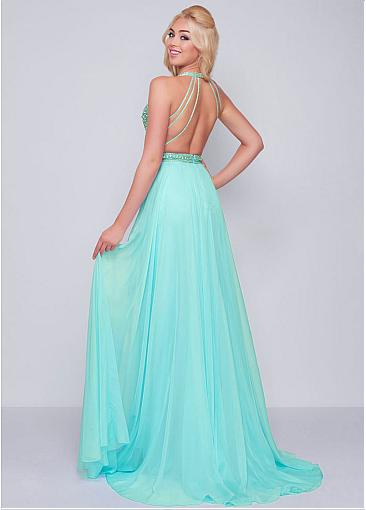 Junoesque Tulle & Silk Like Chiffon V-neck Neckline A-line Prom Dresses With Beadings